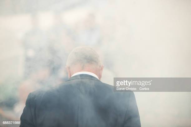 Graham Arnold of Sydney FC looks on during the ALeague Grand Final during the 2017 ALeague Grand Final match between Sydney FC and the Melbourne...
