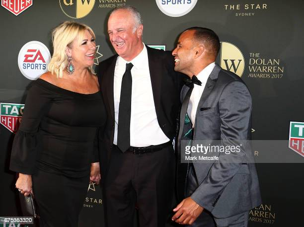 Graham Arnold Sarah Arnold and Archie Thompson arrive ahead of the FFA Dolan Warren Awards at The Star on May 1 2017 in Sydney Australia