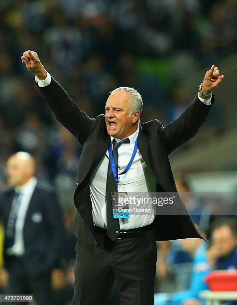 Graham Arnold the coach of Sydney F C gives instructions during the 2015 ALeague Grand Final match between the Melbourne Victory and Sydney FC at...