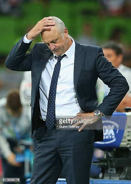 Graham Arnold the coach of Sydney FC reacts on the sidelines during the round 21 ALeague match between Melbourne Victory and Sydney FC at AAMI Park...
