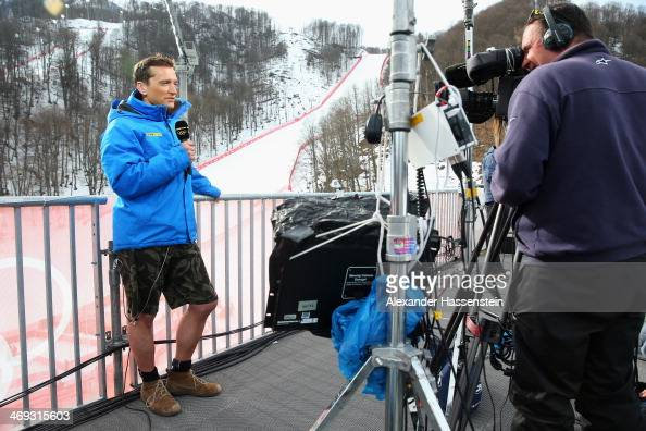 Graham Bell of the BBC wears shorts whilst filming during the Alpine Skiing Men's Super Combined Downhill on day 7 of the Sochi 2014 Winter Olympics...