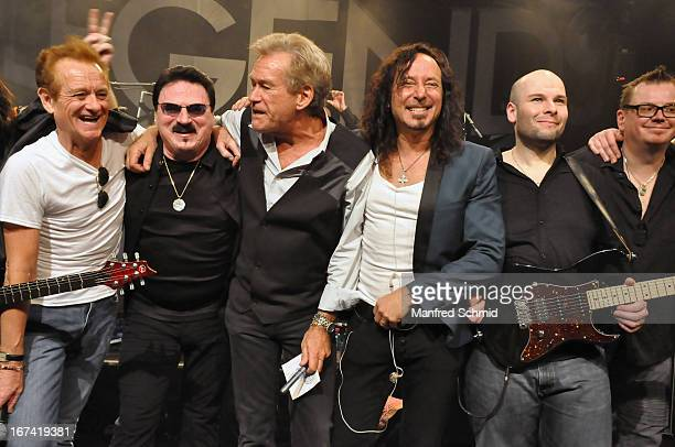 Graham Bonnet Bobby Kimbal Bill Champlin Steve Augeri and Sayit Doelen perform onstage during the 30th anniversary party of Szene Wien on April 18...