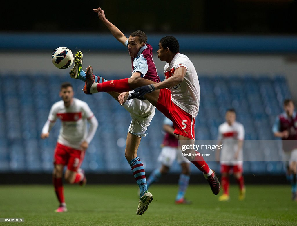 Graham Burke (L) of Aston Villa U19 is challenged by Leandro Climacci Pinto of Olympiacos U19 during the NextGen Series Quarter Final match between Aston Villa U19 and Olympiacos U19 at Villa Park on March 20, 2013 in Birmingham, England.