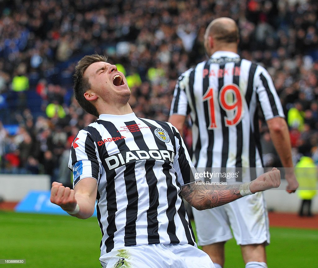 Graham Cary of St Mirren celebrates after his side triumphs in the Scottish Communities League Cup Final between St Mirren and Hearts at Hampden Park on March 17, 2013 in Glasgow, Scotland.