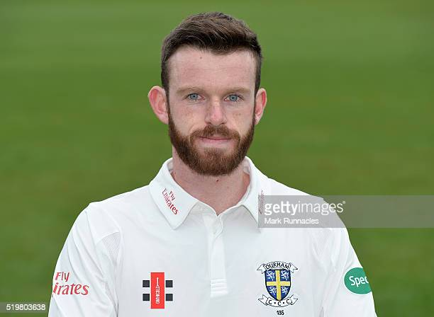 Graham Clark of Durham poses for a photograph during the Durham County Cricket Club photocall at the Riverside on April 8 2016 in ChesterLeStreet...