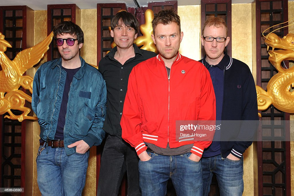 Graham Coxon Alex James Damon Albarn and Dave Rowntree of Blur attend a photocall as Blur are announced as a headliner for British Summertime Hyde...