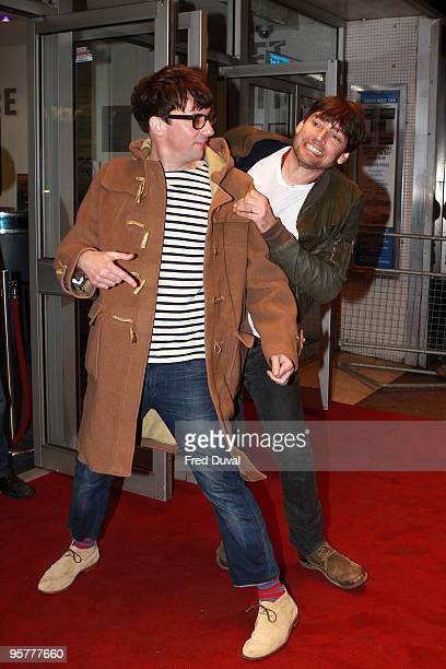 Graham Coxon and Alex James of the band Blur attends World Premiere of 'No Distance To Run' a documentary about the band Blur at Odeon West End on...