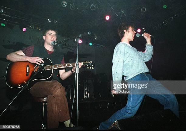 Graham Coxon and Damon Albarn of Blur performing on stage at Shepherds Bush Empire London 26 May 1994