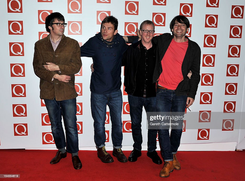 Graham Coxon Damon Albarn Dave Rowntree and Alex James of Blur attend the Q Awards at the Grosvenor House Hotel on October 22 2012 in London England