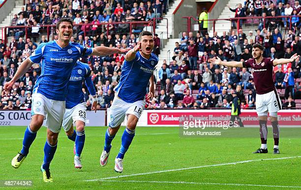 Graham Cummins of St Johnstone celebrates after scoring during the Ladbrokes Scottish Premiership match between Heart of Midlothian FC and St...