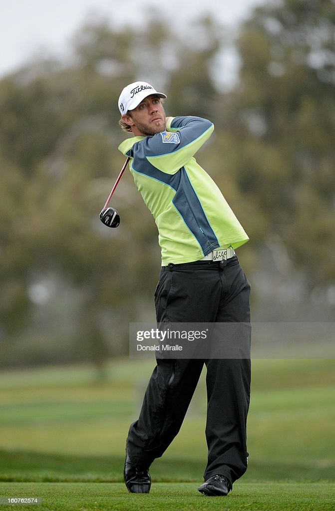Graham DeLaet hits off the tee box during the Third Round at the Farmers Insurance Open at Torrey Pines South Golf Course on January 27, 2013 in La Jolla, California.