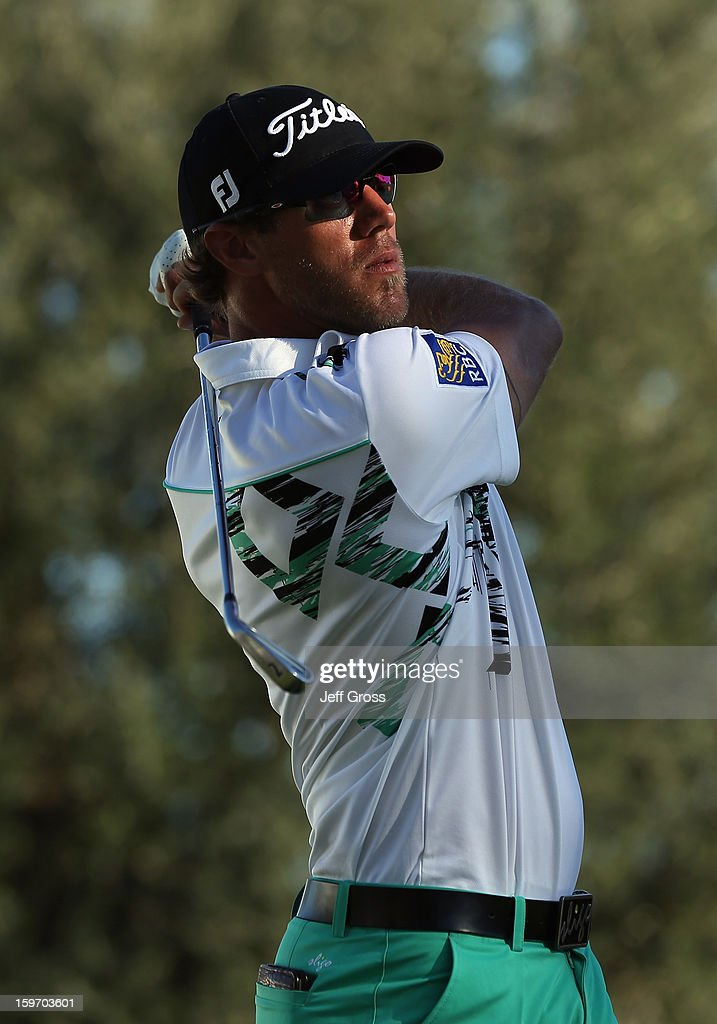 Graham DeLaet of Canada hits a tee shot on the 18th hole during the second round of the Humana Challenge In Partnership With The Clinton Foundation at La Quinta Country Club on January 18, 2013 in La Quinta, California.