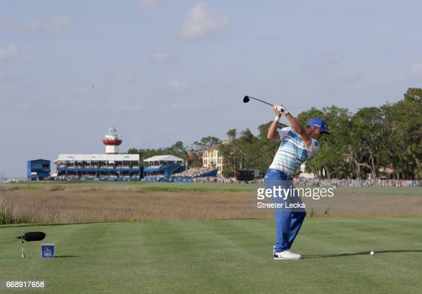 Graham DeLaet of Canada hits his tee shot on the 18th hole during the third round of the 2017 RBC Heritage at Harbour Town Golf Links on April 15...