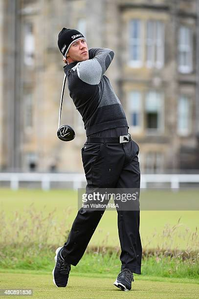 Graham Delaet of Canada hits his tee shot on the second hole during the first round of the 144th Open Championship at The Old Course on July 16 2015...