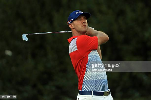 Graham DeLaet of Canada hits off the seventeenth hole during the first round of the Barbasol Championship at the Robert Trent Jones Golf Trail at...
