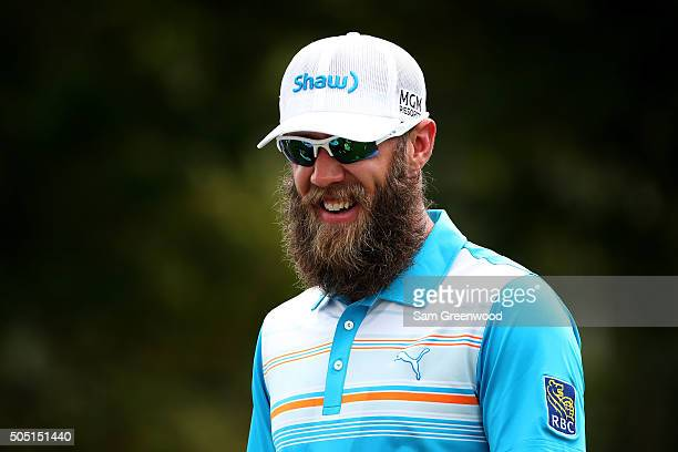 Graham DeLaet of Canada looks on from the first tee during the second round of the Sony Open In Hawaii at Waialae Country Club on January 15 2016 in...