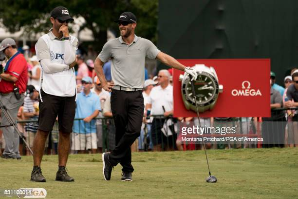 Graham Delaet of Canada on the first tee with his caddie during the Final Round for the 99th PGA Championship held at Quail Hollow Club on August 13...
