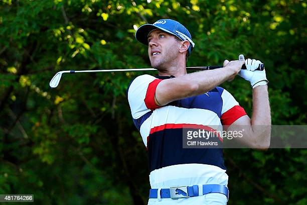 Graham DeLaet of Canada plays his shot from the 12th tee during round two of the RBC Canadian Open on July 24 2015 at Glen Abbey Golf Club in...