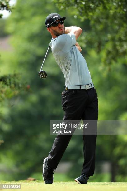 Graham DeLaet of Canada plays his shot from the second tee during the final round of the 2017 PGA Championship at Quail Hollow Club on August 13 2017...