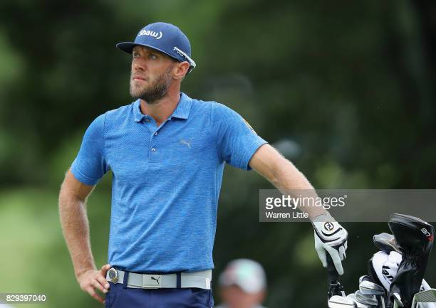 Graham Delaet of Canada plays his shot on the third hole during the first round of the 2017 PGA Championship at Quail Hollow Club on August 10 2017...
