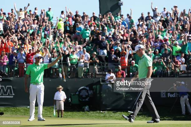 Graham DeLaet of Canada reacts to his birdie putt on the 16th green during the third round of the Waste Management Phoenix Open at TPC Scottsdale on...
