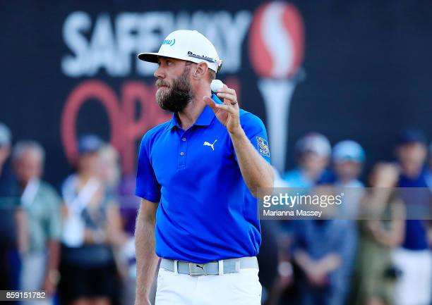 Graham DeLaet of Canada reacts to his putt on the 18th hole during the final round of the Safeway Open at the North Course of the Silverado Resort...