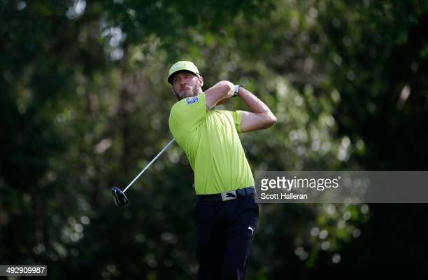 Graham Delaet of Canada takes his shot on the 12th during Round One of the Crowne Plaza Invitational at Colonial on May 22 2014 at Colonial Country...
