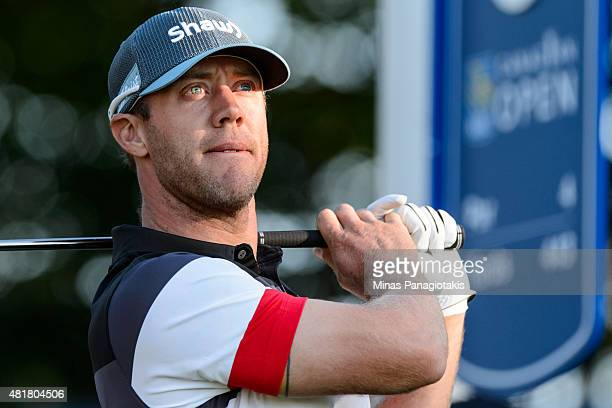 Graham DeLaet of Canada tees off from the tenth hole during round two of the 2015 RBC Canadian Open at Glen Abbey Golf Course on July 24 2015 in...