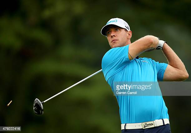 Graham Delaet of Canada tees off on the 17th hole during the first round of the Greenbrier Classic at the Old White TPC on July 2 2015 in White...