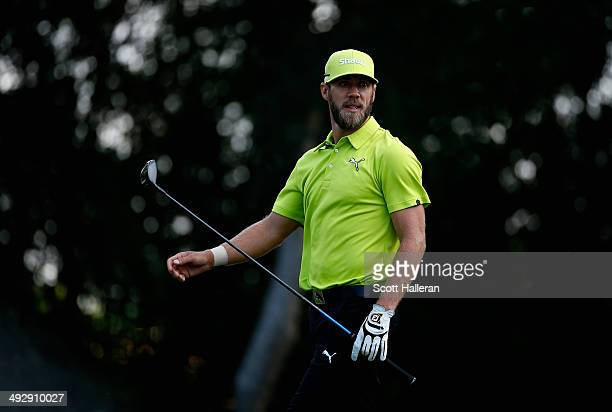 Graham Delaet of Canada tees off on the 9th during Round One of the Crowne Plaza Invitational at Colonial on May 22 2014 at Colonial Country Club in...