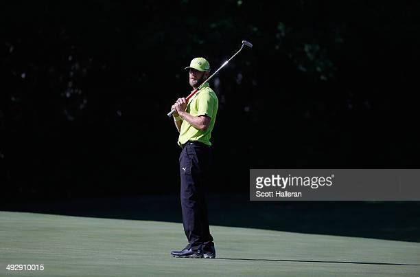 Graham Delaet of Canada watches his eagle putt on the 11th during Round One of the Crowne Plaza Invitational at Colonial on May 22 2014 at Colonial...