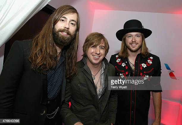 Graham Deloach Bill Satcher and Michael Hobby of A Thousand Horses attend the American Airlines Suite during 2015 CMT Music Awards at Bridgestone...