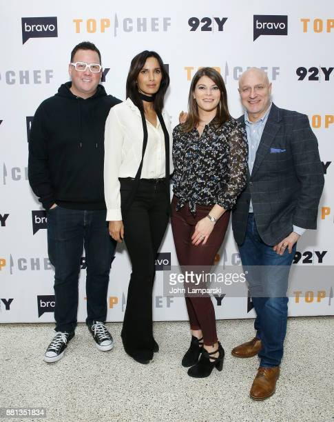 Graham Elliot Padma Lakshmi Gail Simmons and Tom Colicchio The Judges of Bravo's 'Top Chef' In conversation at 92nd Street Y on November 28 2017 in...