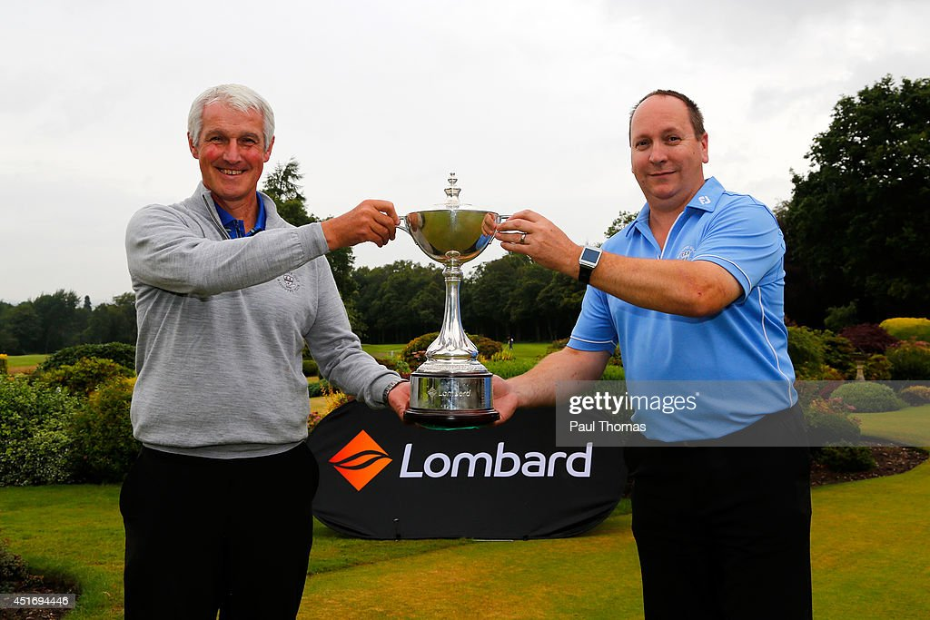 Graham Farr (L) and Shawn Thomas of Worcester Golf and Country Club pose for a photograph during The Lombard Trophy Midland Regional Qualifier at Little Aston Golf Club on July 4, 2014 in Sutton Coldfield, England.