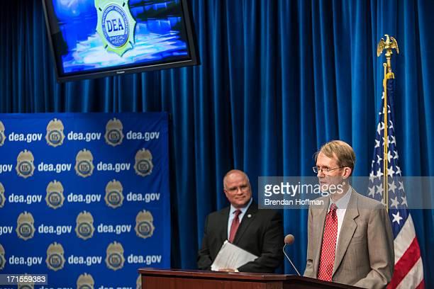 Graham Fletcher Australia's acting ambassador to the United States speaks at a news conference at Drug Enforcement Agency headquarters on June 26...