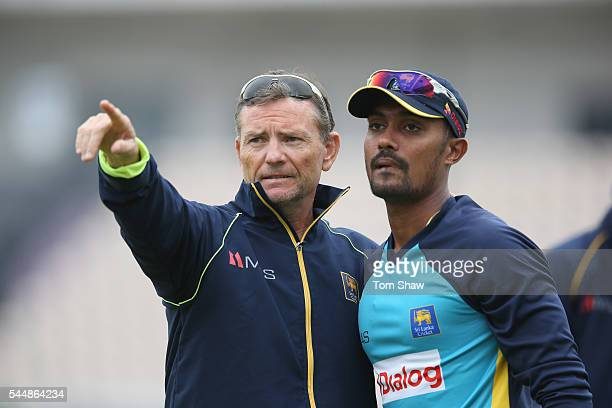 Graham Ford and Danushka Gunathilaka of Sri Lanka during the Sri Lanka nets session at Ageas Bowl on July 4 2016 in Southampton England