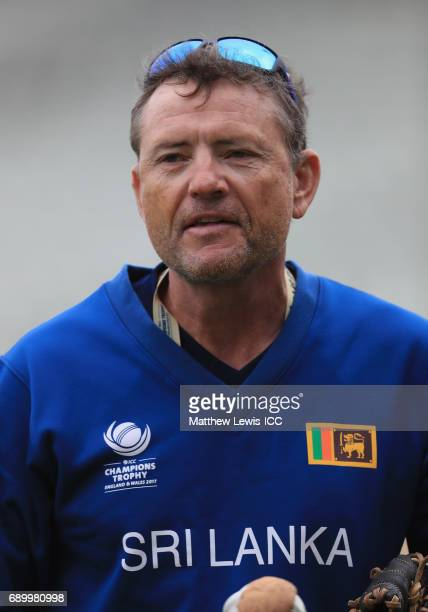 Graham Ford Coach of Sri Lanka looks on during the ICC Champions Trophy Warmup match between New Zealand and Sri Lanka at Edgbaston on May 30 2017 in...