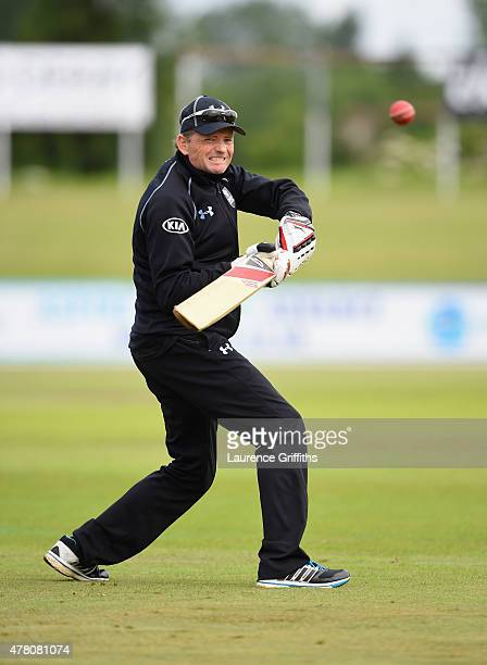 Graham Ford of Surrey in action prior to the LV County Championship match between Derbyshire and Surrey at The County Ground on June 22 2015 in Derby...