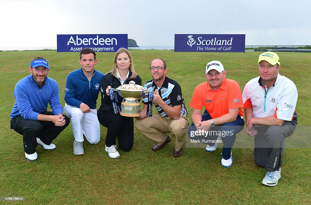 , Graham Fox of Clydway Golf, Callum Hill of Tantallion Golf Club, Ellie Manwairing of Aberdeen Asset Management, Greig Sutherland of Cherry Lodge Golf Centre, <a gi-track='captionPersonalityLinkClicked' href=/galleries/search?phrase=Gareth+Wright&family=editorial&specificpeople=2142953 ng-click='$event.stopPropagation()'>Gareth Wright</a> of West Linton Golf Club and <a gi-track='captionPersonalityLinkClicked' href=/galleries/search?phrase=Greig+Hutcheon&family=editorial&specificpeople=2292138 ng-click='$event.stopPropagation()'>Greig Hutcheon</a> of Paul Lawrie Golf Centre during the second day of the AAM Scottish Open Qualifier at North Berwick Golf Club on July 5, 2015 in North Berwick, Scotland.