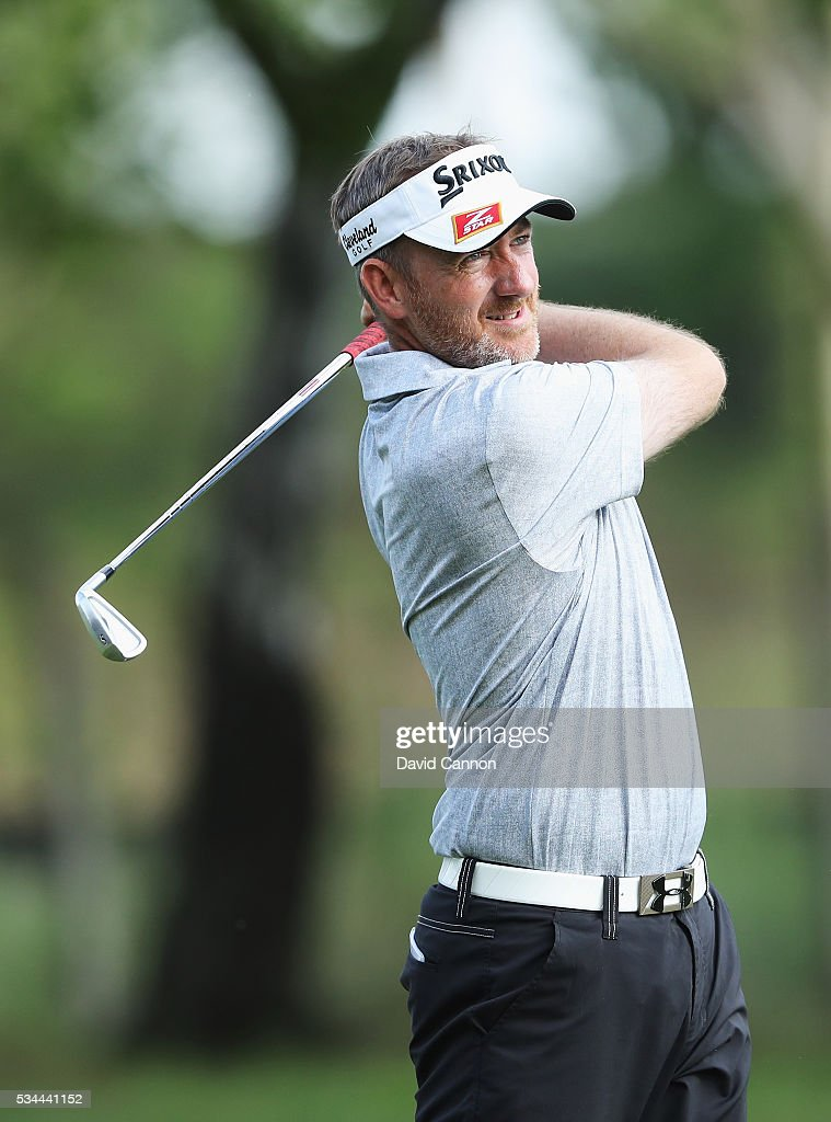 Graham Fox of England in action during day one of the BMW PGA Championship at Wentworth on May 26, 2016 in Virginia Water, England.