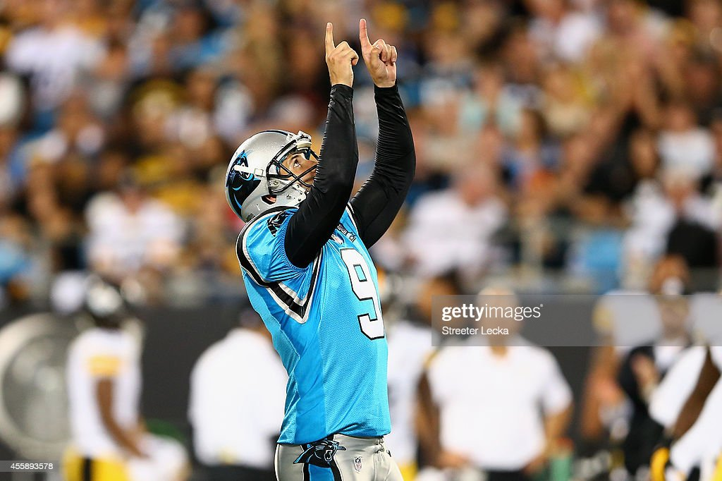 Graham Gano #9 of the Carolina Panthers celebrates a 1st quarter field goal against the Pittsburgh Steelers during the game at Bank of America Stadium on September 21, 2014 in Charlotte, North Carolina.