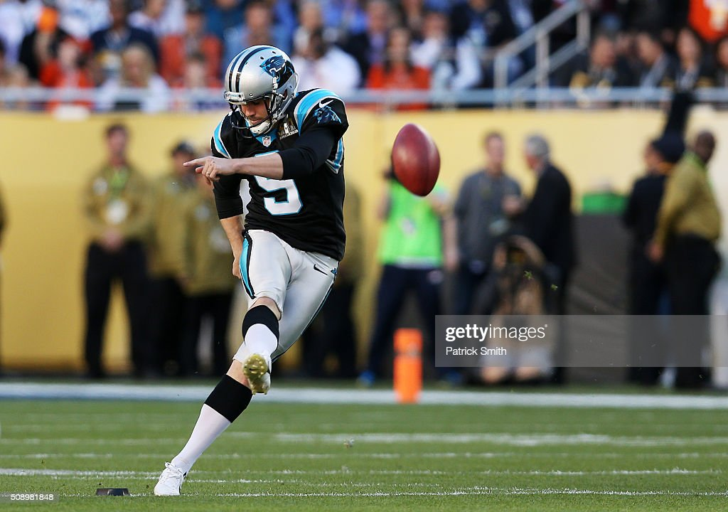<a gi-track='captionPersonalityLinkClicked' href=/galleries/search?phrase=Graham+Gano&family=editorial&specificpeople=4483101 ng-click='$event.stopPropagation()'>Graham Gano</a> #9 of the Carolina Panthers kicks off to start Super Bowl 50 against the Denver Broncos at Levi's Stadium on February 7, 2016 in Santa Clara, California.