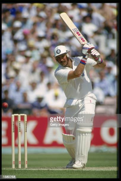 Graham Gooch plays a cover drive during the 1 day international between England and Pakistan at The Oval Mandatory CreditAllsport UK