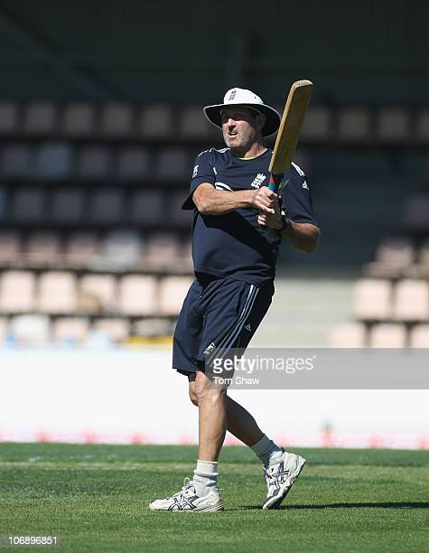 Graham Gooch the England batting coach hits some balls for cathing practice during an England nets session at Bellerive Oval on November 16 2010 in...