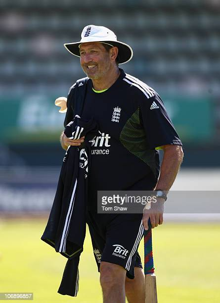 Graham Gooch the England batting coach looks on during an England nets session at Bellerive Oval on November 16 2010 in Hobart Australia