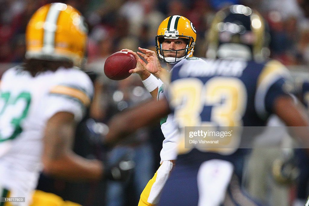 <a gi-track='captionPersonalityLinkClicked' href=/galleries/search?phrase=Graham+Harrell&family=editorial&specificpeople=3941321 ng-click='$event.stopPropagation()'>Graham Harrell</a> #6 of the Green Bay Packers passes against the St. Louis Rams during a preseason game at the Edward Jones Dome on August 17, 2013 in St. Louis, Missouri.