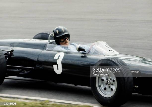 Graham Hill drives the Owen Racing OrganisationBRM P261 BRM 15 V8 during the British Grand Prix on 11 July 1964 at the Brands Hatch circuit in...