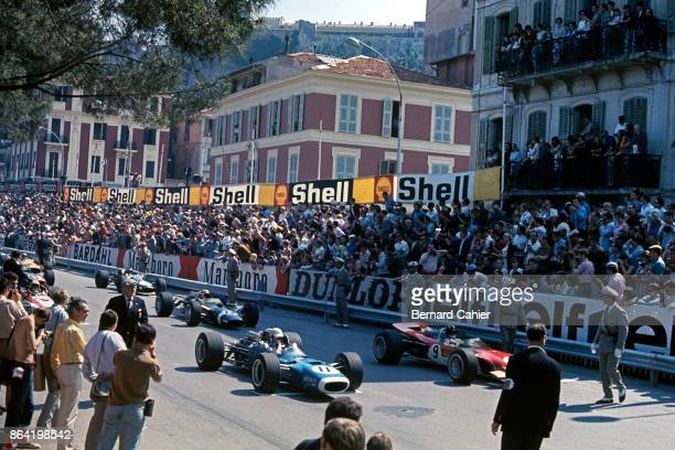 Graham Hill Johnny Servoz Gavin LotusFord 49B MatraFord MS10 Grand Prix of Monaco Circuit de Monaco 26 May 1968 Moments before the start of the 1968...