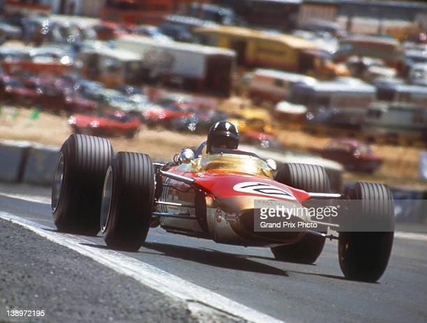 Graham Hill of Great Britain drives the Gold Leaf Team Lotus Lotus 49 Ford V8 during the Spanish Grand Prix on 12th May 1968 at the Jarama Circuit...