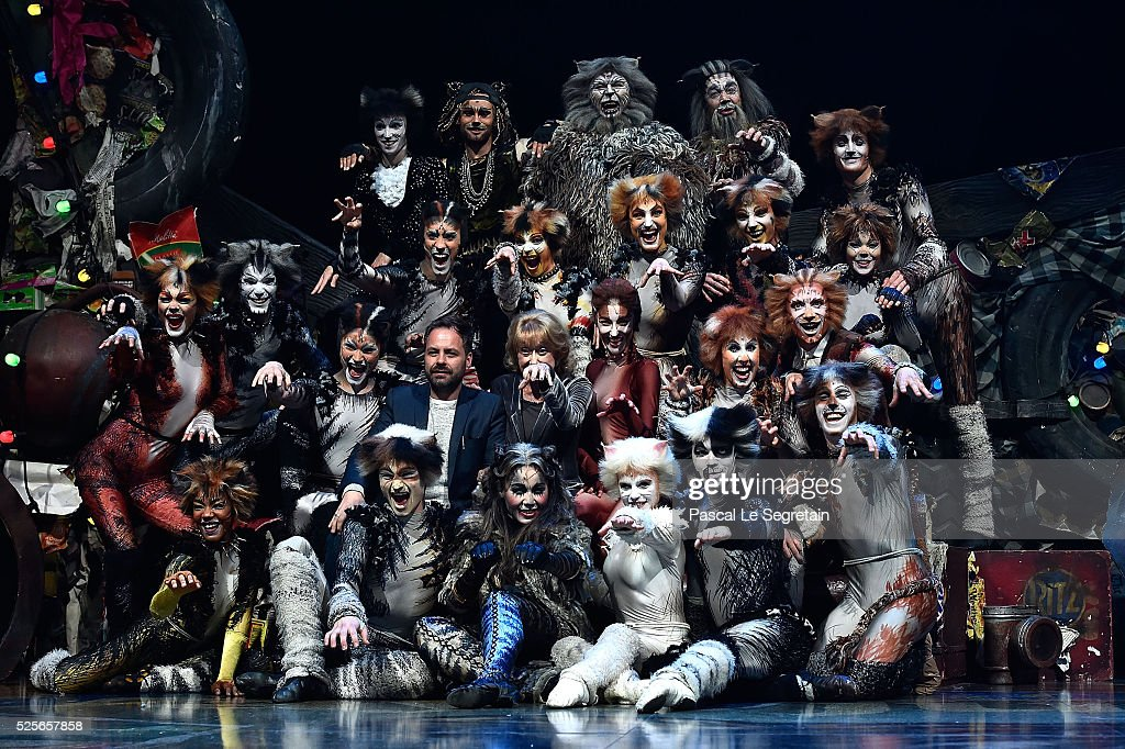 Graham Hurman, Gillian Lynne and Chimene Badi pose on stage with dancers during the Cats Premiere at Theatre Mogador on April 28, 2016 in Paris, France.